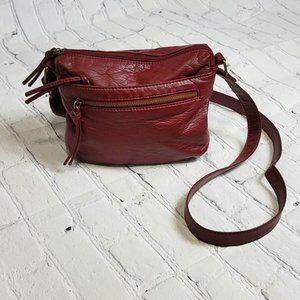 Merlot Faux Leather Shoulder Bag